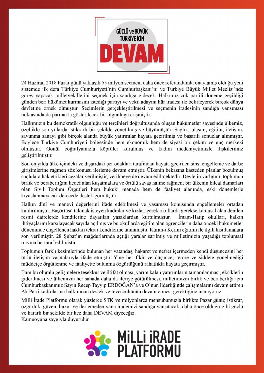 Güçlü ve Büyük Türkiye İçin DEVAM - Basın Açıklaması - Haberler - İlim Yayma Vakfı, İYV